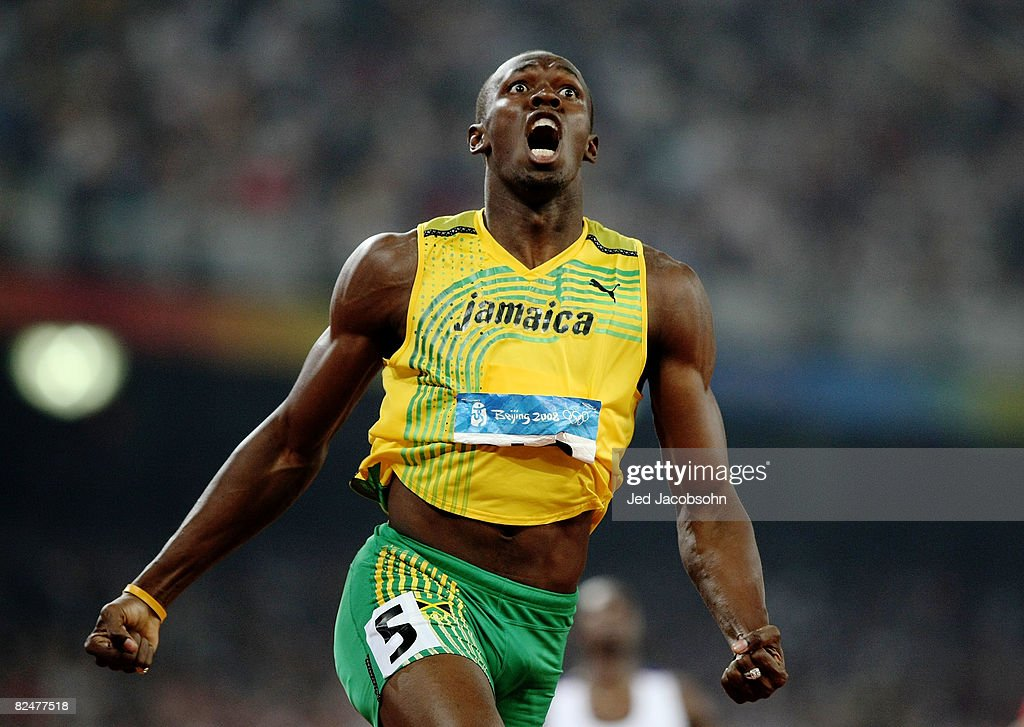 <a gi-track='captionPersonalityLinkClicked' href=/galleries/search?phrase=Usain+Bolt&family=editorial&specificpeople=604196 ng-click='$event.stopPropagation()'>Usain Bolt</a> of Jamaica reacts after breaking the world record with a time of 19.30 to win the gold medal in the Men's 200m Final at the National Stadium during Day 12 of the Beijing 2008 Olympic Games on August 20, 2008 in Beijing, China.