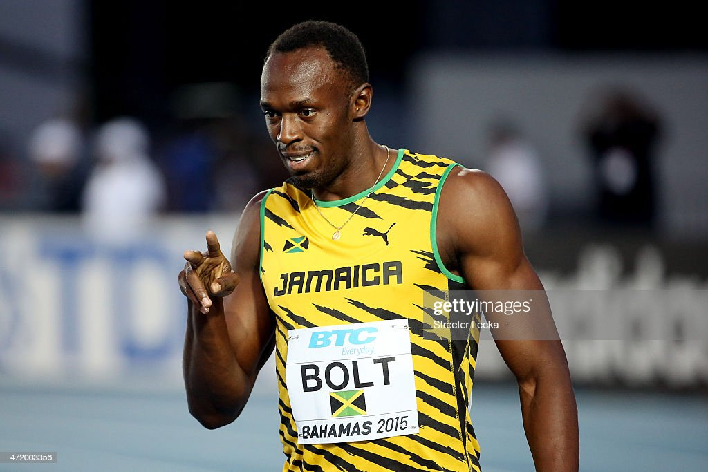 <a gi-track='captionPersonalityLinkClicked' href=/galleries/search?phrase=Usain+Bolt&family=editorial&specificpeople=604196 ng-click='$event.stopPropagation()'>Usain Bolt</a> of Jamaica reacts after competing in round one of the men's 4 x 100 metres on day one of the IAAF World Relays at Thomas Robinson Stadium on May 2, 2015 in Nassau, Bahamas.