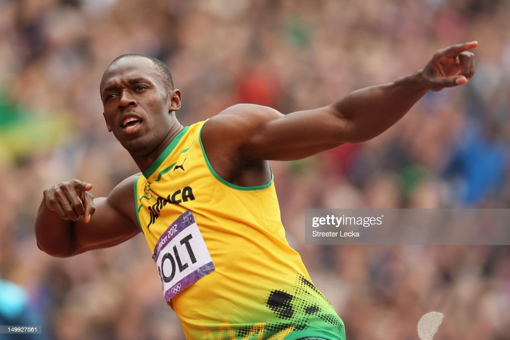 <a gi-track='captionPersonalityLinkClicked' href=/galleries/search?phrase=Usain+Bolt&family=editorial&specificpeople=604196 ng-click='$event.stopPropagation()'>Usain Bolt</a> of Jamaica reacts after competing in the Men's 200m Round 1 Heats on Day 11 of the London 2012 Olympic Games at Olympic Stadium on August 7, 2012 in London, England.