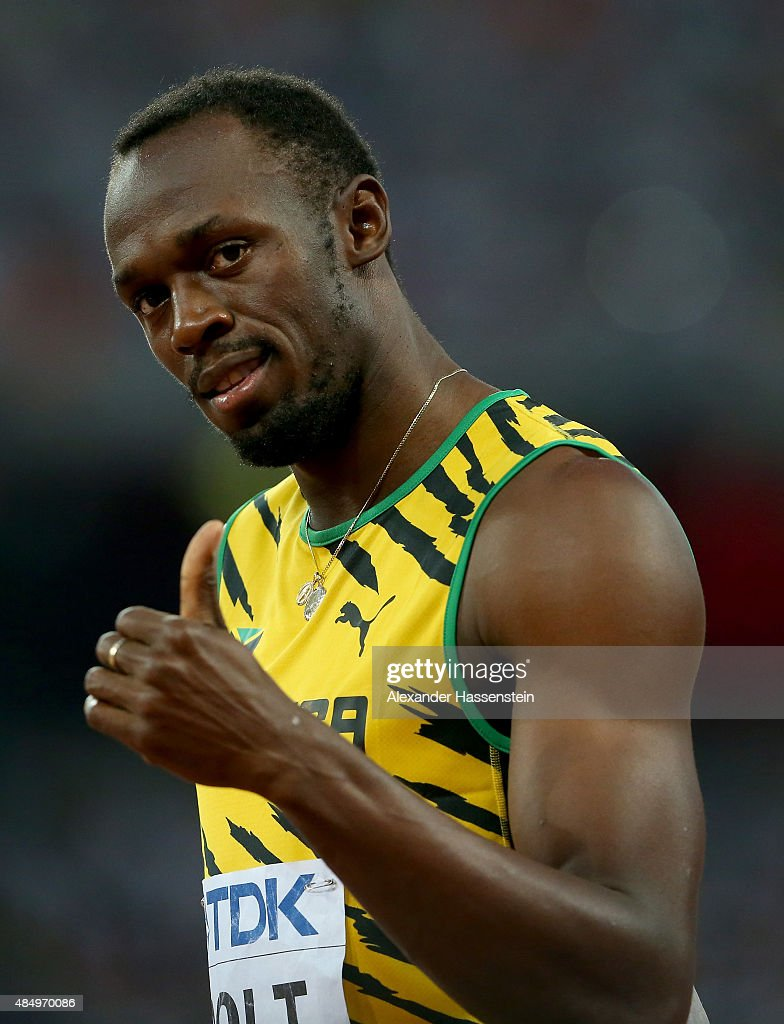 <a gi-track='captionPersonalityLinkClicked' href=/galleries/search?phrase=Usain+Bolt&family=editorial&specificpeople=604196 ng-click='$event.stopPropagation()'>Usain Bolt</a> of Jamaica reacts after crossing the finish line in the Men's 100 metres semi-final during day two of the 15th IAAF World Athletics Championships Beijing 2015 at Beijing National Stadium on August 23, 2015 in Beijing, China.