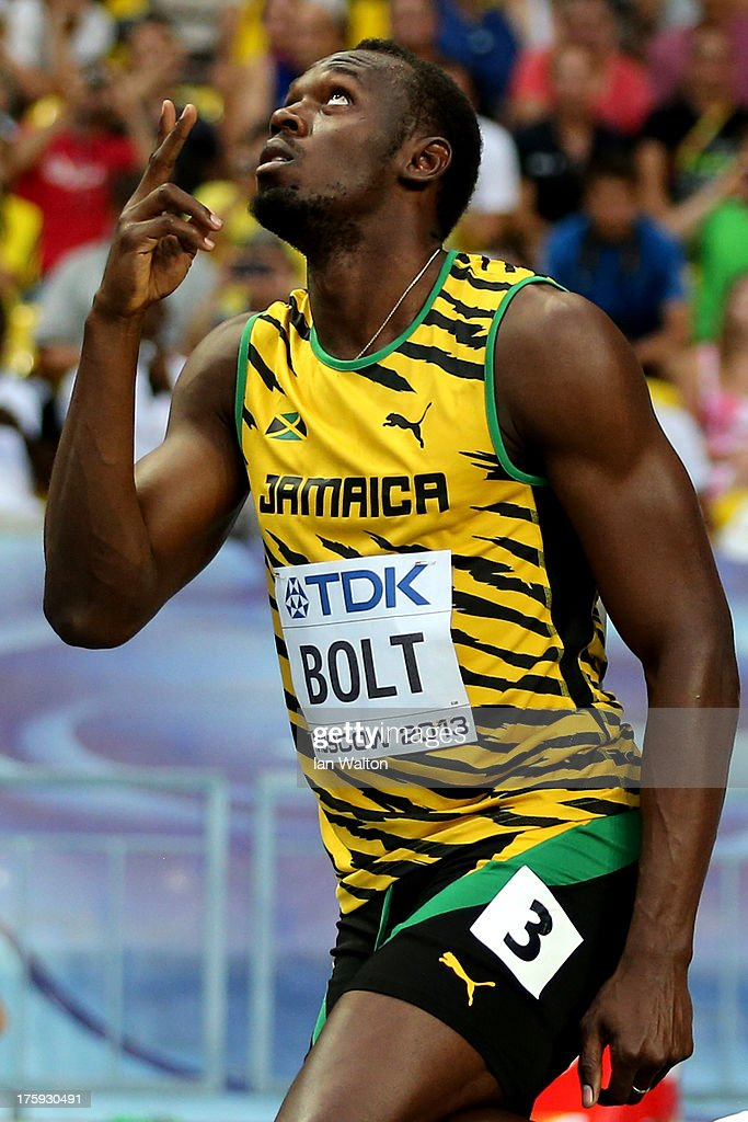 <a gi-track='captionPersonalityLinkClicked' href=/galleries/search?phrase=Usain+Bolt&family=editorial&specificpeople=604196 ng-click='$event.stopPropagation()'>Usain Bolt</a> of Jamaica reacts after winning his heat in the Men's 100 metres heats during Day One of the 14th IAAF World Athletics Championships Moscow 2013 at Luzhniki Stadium on August 10, 2013 in Moscow, Russia.