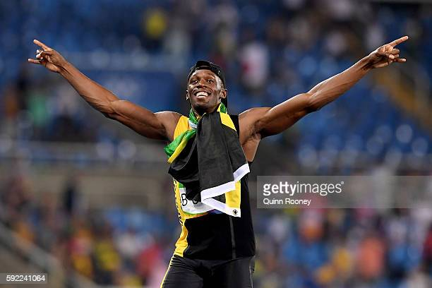 Usain Bolt of Jamaica reacts after winning the Men's 4 x 100m Relay Final on Day 14 of the Rio 2016 Olympic Games at the Olympic Stadium on August 19...
