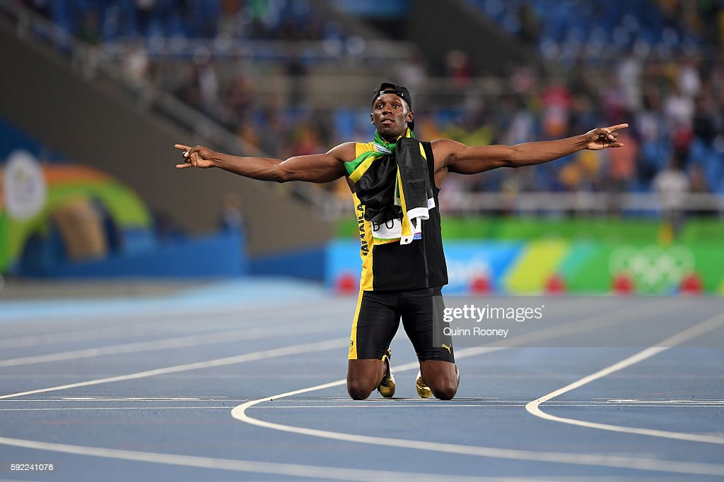 Usain Bolt of Jamaica reacts after winning the Men's 4 x 100m Relay Final on Day 14 of the Rio 2016 Olympic Games at the Olympic Stadium on August 19, 2016 in Rio de Janeiro, Brazil.