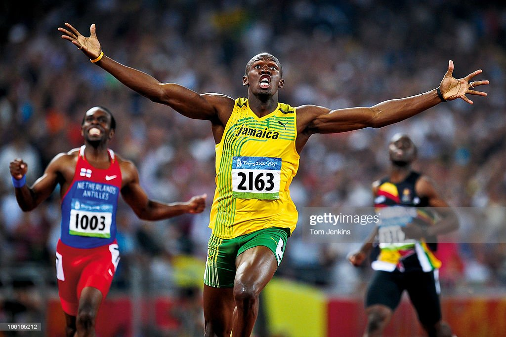 <a gi-track='captionPersonalityLinkClicked' href=/galleries/search?phrase=Usain+Bolt&family=editorial&specificpeople=604196 ng-click='$event.stopPropagation()'>Usain Bolt</a> of Jamaica reacts as he wins the Olympic mens 200m final in a new world record time in the Birds Nest stadium, Beijing on August 20th 2008 in Beijing, China (Photo by Tom Jenkins/Getty Images). An image from the book 'In The Moment' published June 2012