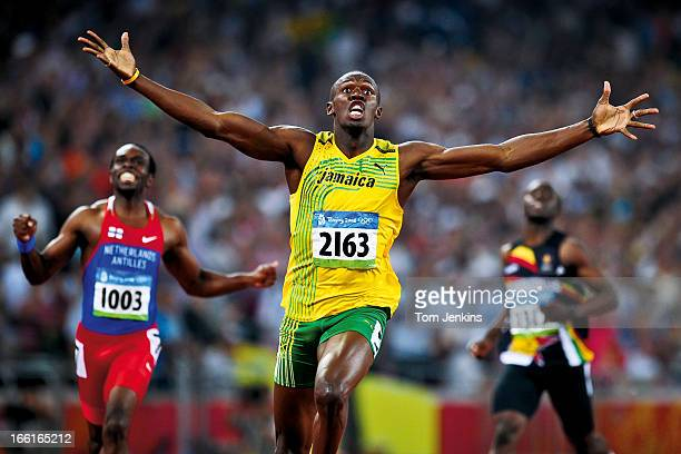 Usain Bolt of Jamaica reacts as he wins the Olympic mens 200m final in a new world record time in the Birds Nest stadium Beijing on August 20th 2008...