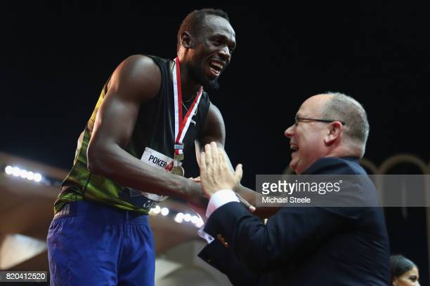 Usain Bolt of Jamaica receives an award from Prince Albert II of Monaco during the IAAF Diamond League Meeting Herculis on July 21 2017 in Monaco...