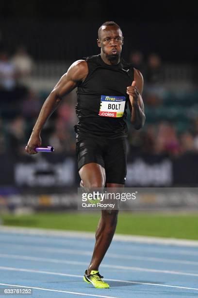 Usain Bolt of Jamaica runs in the relay during Nitro Athletics at Lakeside Stadium on February 4 2017 in Melbourne Australia