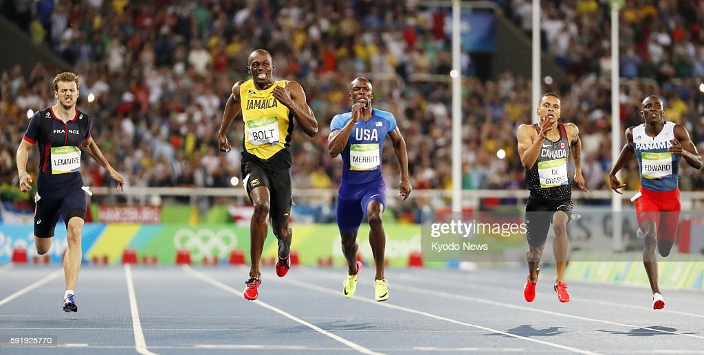 Usain Bolt of Jamaica runs on his way to winning the men's 200meter final at the Rio de Janeiro Olympics on Aug 18 2016 Bolt completed his third...
