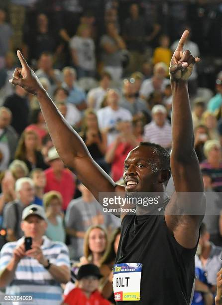 Usain Bolt of Jamaica waves to the crowd after running in the relay during Nitro Athletics at Lakeside Stadium on February 4 2017 in Melbourne...
