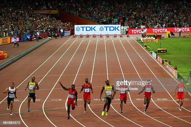 Usain Bolt of Jamaica wins gold ahead of Andre De Grasse of Canada Asafa Powell of Jamaica Justin Gatlin of the United States Tyson Gay of the United...