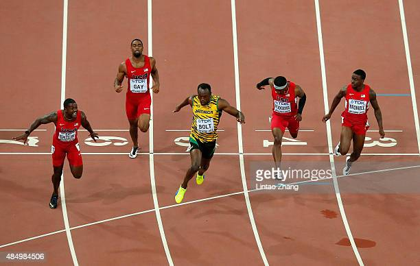 Usain Bolt of Jamaica wins gold ahead of Justin Gatlin of the United States Tyson Gay of the United States Mike Rodgers of the United States and...