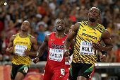 Usain Bolt of Jamaica wins gold in the Men's 100 metres final as Justin Gatlin of the United States wins silver during day two of the 15th IAAF World...