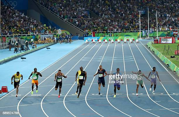 Usain Bolt of Jamaica wins the Men's 100 meter final ahead of Justin Gatlin of the United States and Andre De Grasse of Canada on Day 9 of the Rio...