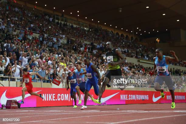 Usain Bolt of Jamaica wins the men's 100m from Chijindu Ujah of Great Britain during the IAAF Diamond League Meeting Herculis on July 21 2017 in...