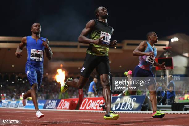 Usain Bolt of Jamaica wins the men's 100m from Chijindu Ujah of Great Britain and Akani Simbine of South Africa during the IAAF Diamond League...
