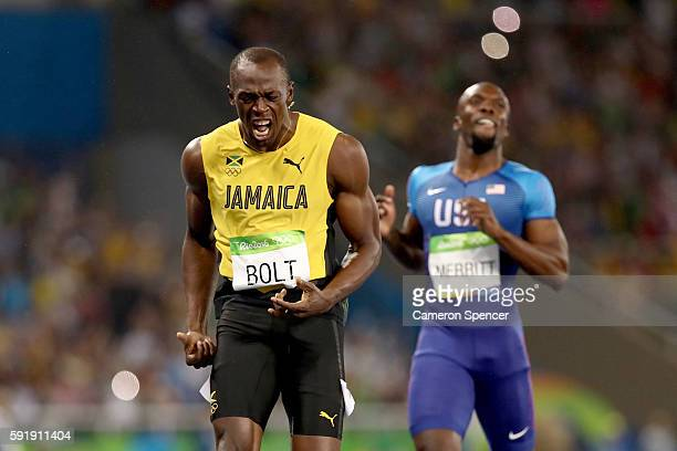 Usain Bolt of Jamaica wins the Men's 200m Final ahead of Lashawn Merritt of the United States on Day 13 of the Rio 2016 Olympic Games at the Olympic...