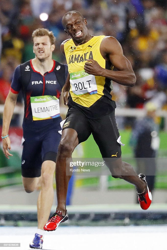 Usain Bolt of Jamaica wins the men's 200meter final at the Rio de Janeiro Olympics on Aug 18 with Christophe Lemaitre of France pictured behind