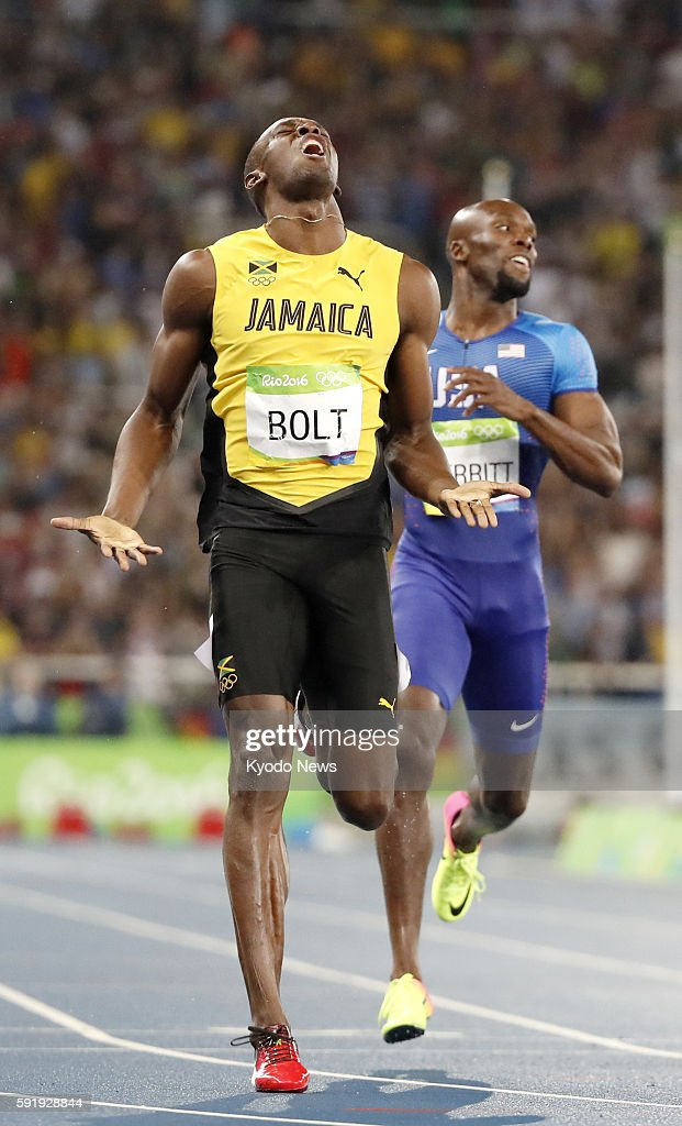 Usain Bolt of Jamaica wins the men's 200meter final at the Rio de Janeiro Olympics on Aug 18 with Lashawn Merritt of the United States pictured behind