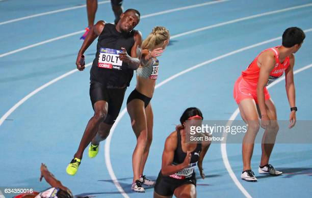 Usain Bolt of of Usain Bolt's AllStar team competes in the Mixed 4x100 Meter Relay during the 2017 Nitro Athletics Series at Lakeside Stadium on...