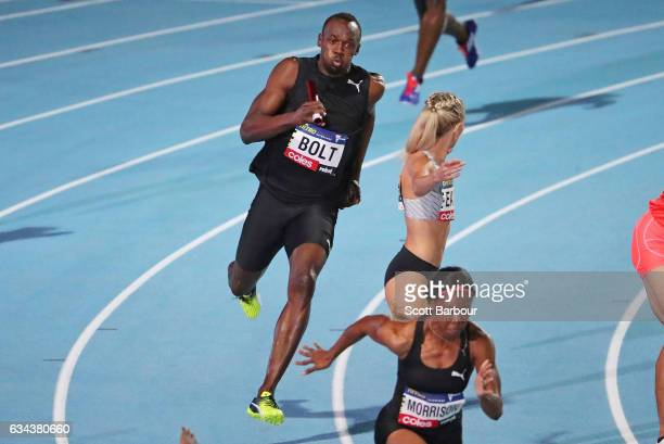Usain Bolt of Usain Bolt's AllStar team competes in the Mixed 4x100 Metre Relay during the 2017 Nitro Athletics Series at Lakeside Stadium on...