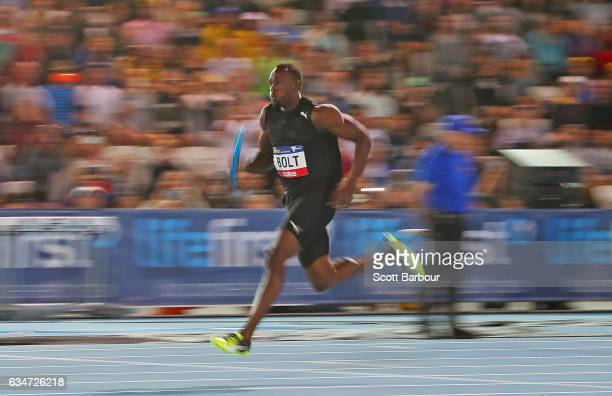 Usain Bolt of Usain Bolt's AllStar team runs in the Mixed 4x100 Meter Relay event during the Melbourne Nitro Athletics Series at Lakeside Stadium on...