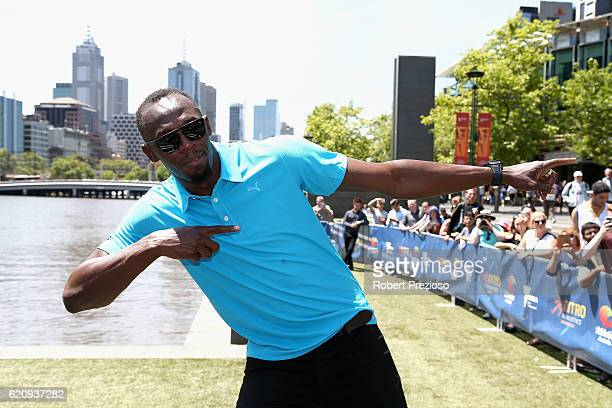 Usain Bolt poses during the launch of Nitro Athletics on November 4 2016 in Melbourne Australia