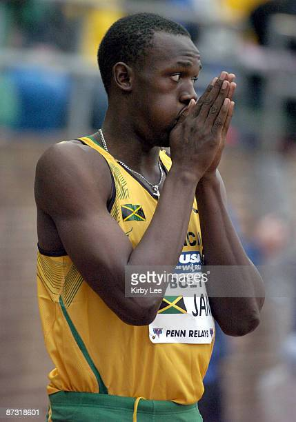 Usain Bolt runs the first leg of Jamaica's sprint medley relay in the USA vs The World competition in the 111th Penn Relays at the University of...