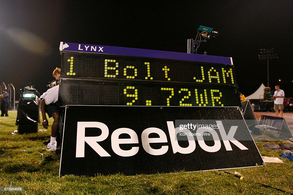Usain Bolt's winning time is displayed on a scoreboard after the Men's 100 meter dash at the Reebok Grand Prix in New York City. Bolt set a new World Record of 9.72.