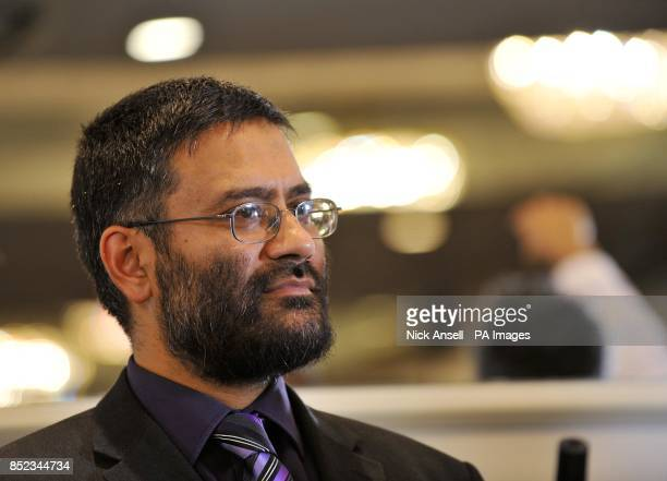 Usama Hasan from the Quilliam Foundation during a press conference at the Montague Hotel central London where English Defence League leader Tommy...