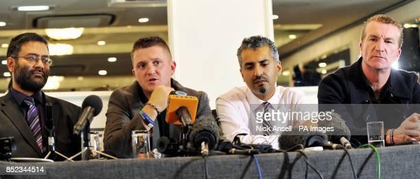 Usama Hasan of Quilliam Foundation English Defence League leader Tommy Robinson Maajid Nawaz of Quilliam Foundation and English Defence League co...