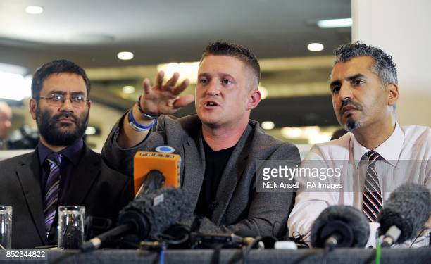 Usama Hasan of the Quilliam Foundation English Defence League leader Tommy Robinson and Maajid Nawaz of the Quilliam Foundation during a press...