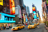 USA,New York,Times Square,neon signs,yellow cabs,night