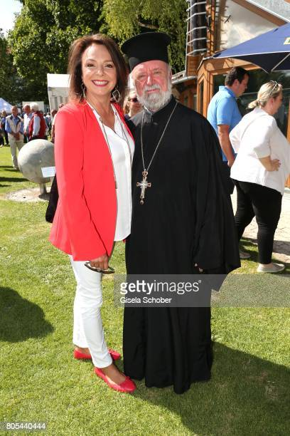 Uschi Daemmrich von Luttitz and Apostolos Malamoussis during the Erich Greipl Tribute tournament and charity soccer game at the ErichGreiplStadion on...