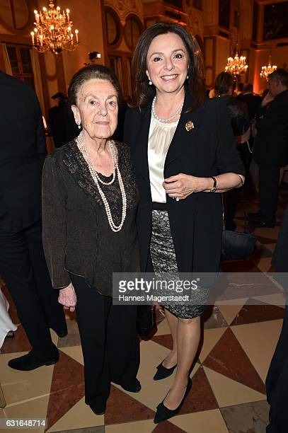 Uschi Daemmrich von Luttitz and her mother Caroline during the new year reception of the Bavarian state government at Residenz on January 13 2017 in...