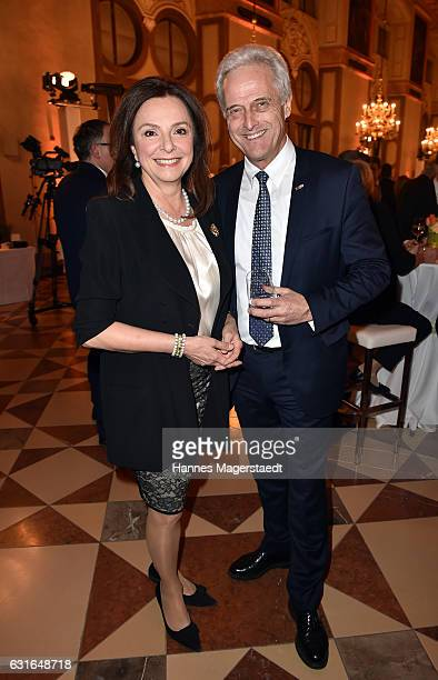 Uschi Daemmrich von Luttitz and Peter Ramsauer during the new year reception of the Bavarian state government at Residenz on January 13 2017 in...