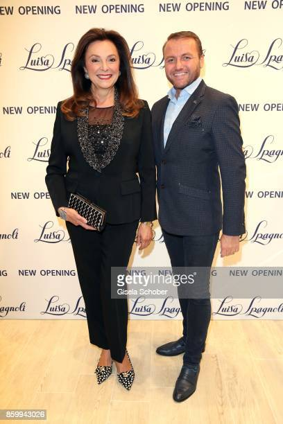 Uschi Daemmrich von Luttitz wearing a tuxedo by Luisa Spagnoli and Peter Safarik during the Luisa Spagnoli boutique opening Munich at Preysing Palais...