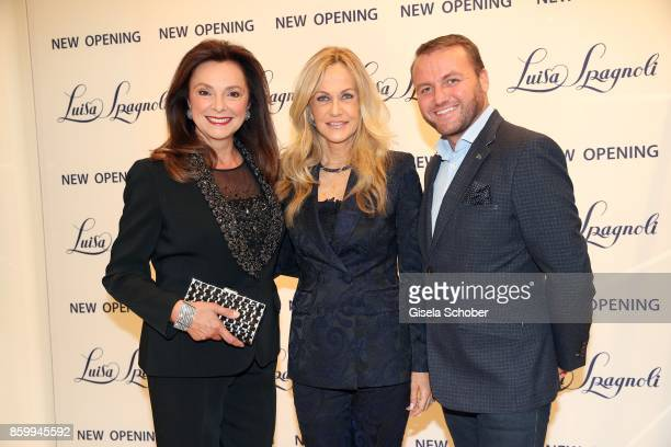 Uschi Daemmrich von Luttitz wearing a tuxedo by Luisa Spagnoli and Nicoletta Spagnoli and Peter Safarik during the Luisa Spagnoli boutique opening...