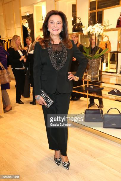 Uschi Daemmrich von Luttitz wearing a tuxedo by Luisa Spagnoli during the Luisa Spagnoli boutique opening Munich at Preysing Palais on October 10...
