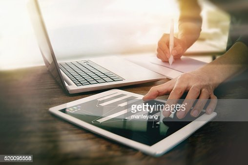 Use the computer work in the office. : Stock Photo