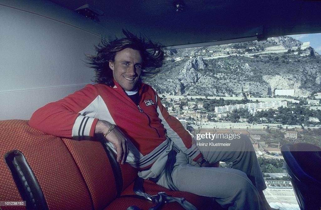 Sweden Bjorn Borg in helicopter above Monte Carlo during photo shoot. Monte Carlo, Monaco 3/1/1980--3/31/1980