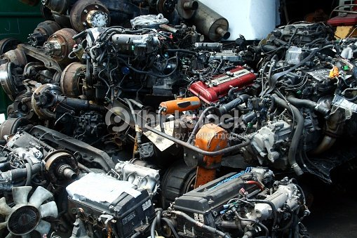 Used And Surplus Car Engines And Other Car Parts Stock Photo ...