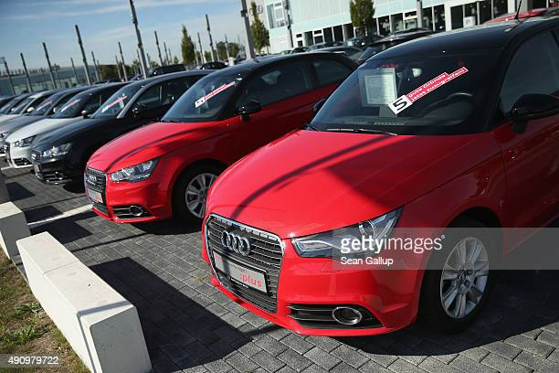 Used Audi cars stand for sale at an Audi dealership on October 2 2015 in Berlin Germany Volkswagen the parent company of Audi announced recently that...