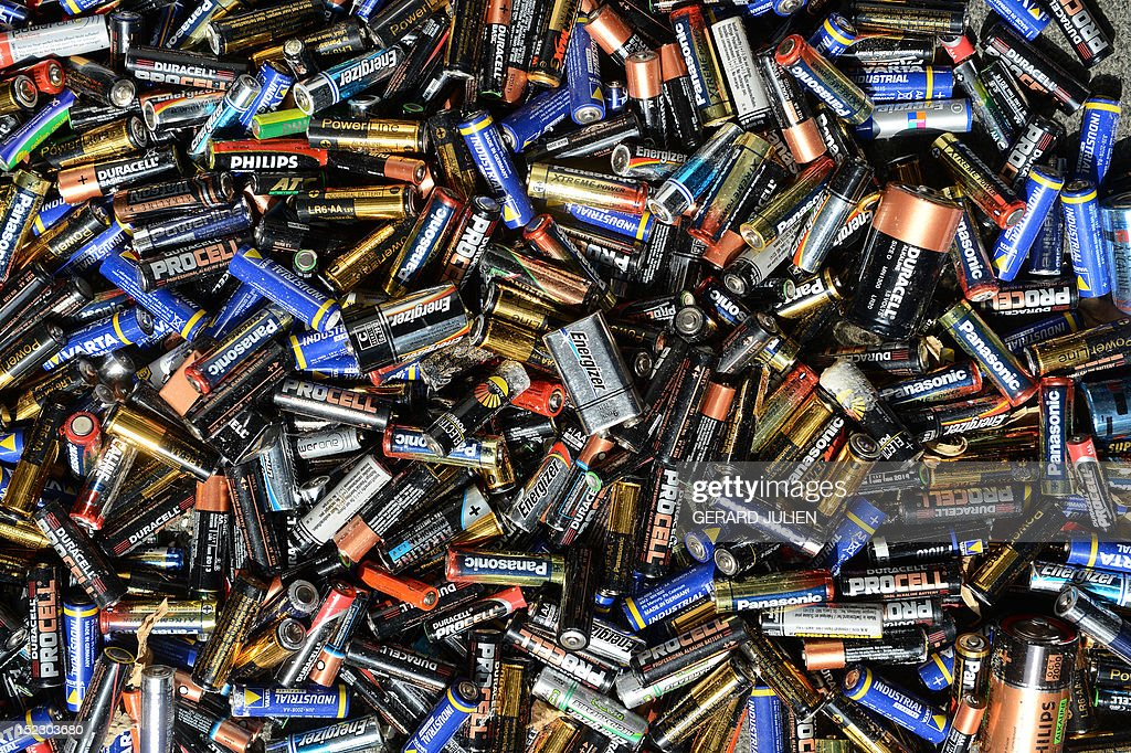 Used batteries are pictured, on September 18, 2012, in Marseille, southern France.