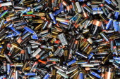 Used batteries are pictured on September 18 in Marseille southern France AFP PHOTO GERARD JULIEN