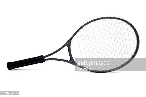 Used Black Graphite Tennis Racket Isolated on White Background : Stock Photo