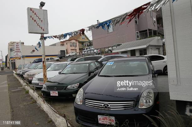 Used cars are displayed on a sales lot on June 9 2011 in Daly City California As the economy continues to falter and Japan recovers from the...