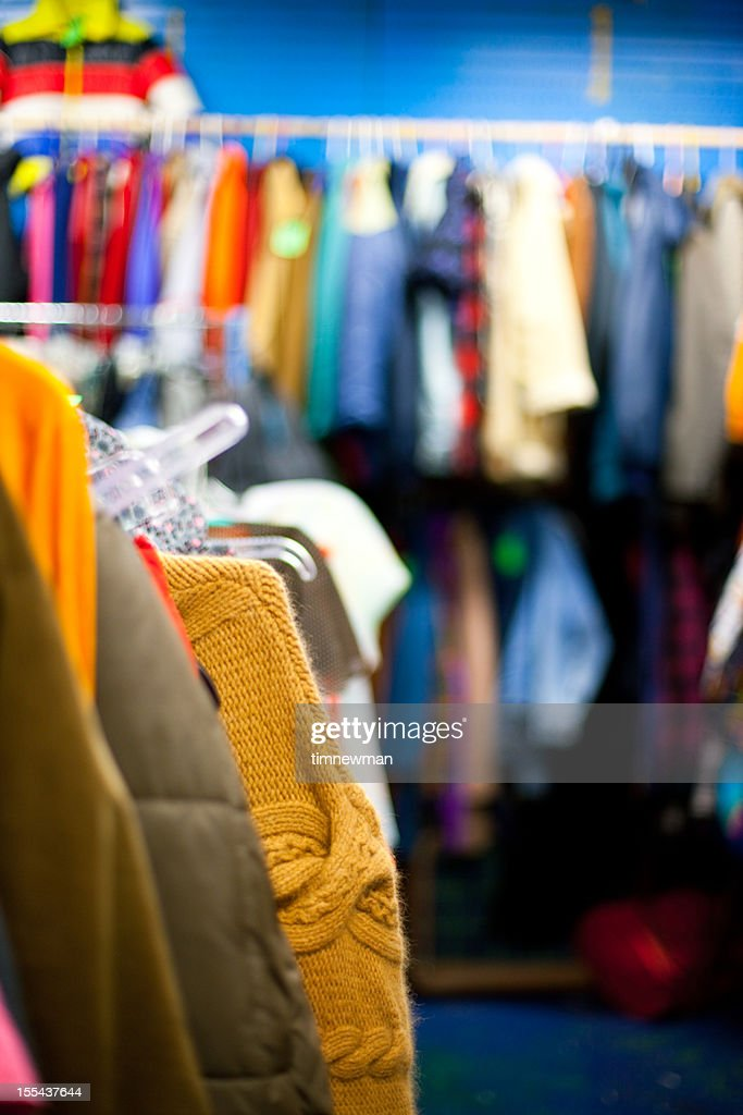 Used Clothing Strike On Twitter New 80s Adidas Top Ten: Used Clothing Rack At A Thrift Store Stock Photo