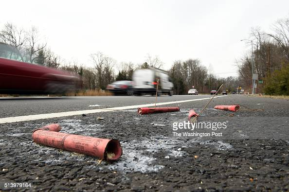 Used emergency distress flare signals are left near a crash site where three people were killed and another person seriously hurt last Saturday in a...