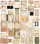 Used paper sheets, books, pages and old cardboard isolated on white background. Vintage photo frames. Antique clipboard and photo corner