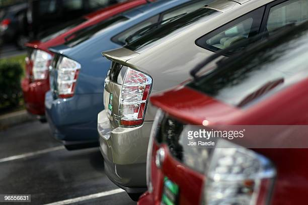 Used Toyota Prius' are seen on the Al Henrickson Toyota Dealer sales lot on February 9 2010 in Coconut Creek Florida The dealership stands ready to...